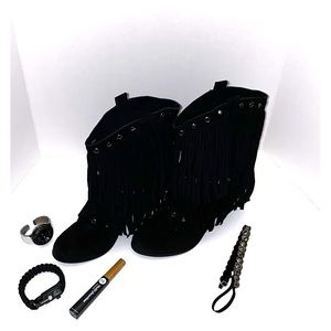 Black Suede Fringed High Heel Boots